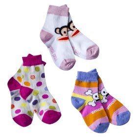 Infant toddler girls' paul frank® for target® multicolor 3 pk crew socks