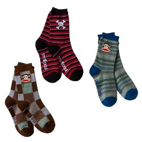 Boys' paul frank® for target® multicolor stripe 3 pk crew socks 6-8.5