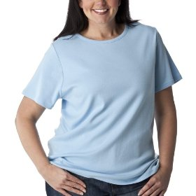 Women's plus-size cherokee® soft blue short-sleeve crew-neck basic tee