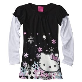 Girls' hello kitty black long-sleeve 2-fer glitter graphic shirt