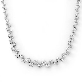 Natural 10.0 ctw diamond necklace 14k white gold