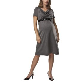 Liz lange® for target® maternity short-sleeve belted ponte dress - heather gray