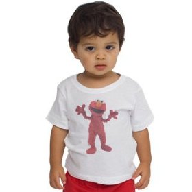 American apparel infant sesame street elmo surprise poly-cotton loose crew neck t-shirt
