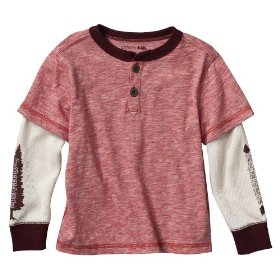 Infant toddler boys' genuine kids from oshkosh aztec copper 2fer henley shirt