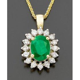 14k emerald (1-3/4 ct. t.w.) & diamond (1/2 ct. t.w.) pendant