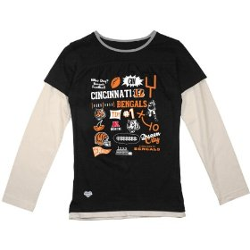 Reebok cincinnati bengals girls (7-16) long sleeve faux layer t-shirt
