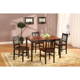 5 pc. brown fudge wood finish dinette set table and 4 chairs