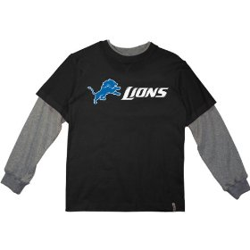 Reebok detroit lions boys (4-7) long sleeve splitter alternate t-shirt