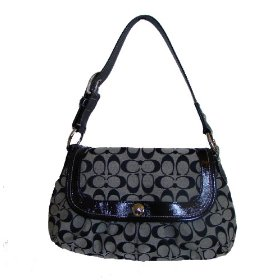 Coach signature pleated flap large hobo handbag 13739 black/white
