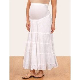 Motherhood maternity: secret fit belly(tm) full length tiered solid color maternity skirt