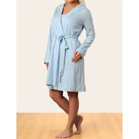 Motherhood maternity: long sleeve scoop neck ruffled nursing nightgown and robe