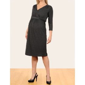 Motherhood maternity: 3/4 sleeve faux wrap maternity dress