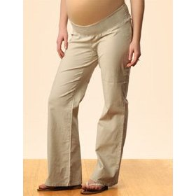 A pea in the pod: smock waist linen smocked waist boot cut maternity pants