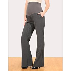 Motherhood maternity: long secret fit belly(tm) bi-stretch suiting back pockets fit and flare matern