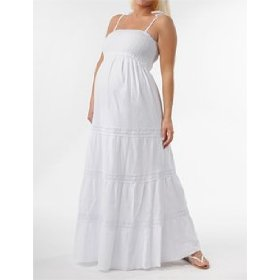Motherhood maternity: spaghetti strap crochet detail maternity maxi dress