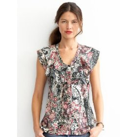 Banana republic heritage print ruffle neck shell