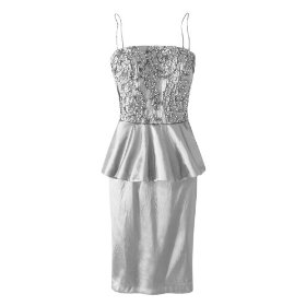 Spiegel sequined satin peplum dress