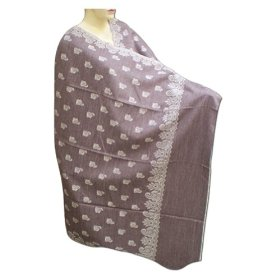 Indian women choice handmade cotton shawl with self design and plain border shwl0093r
