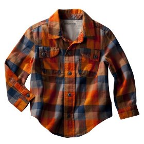 Infant toddler boys' genuine kids from oshkosh orange long-sleeve plaid woodland shirt