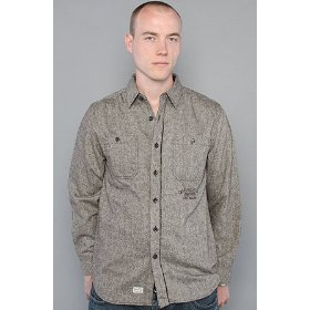 Crooks and castles the first brigand buttondown shirt in warm grey,buttondown shirts for men