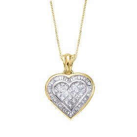 14k yellow gold 1 1/2 ct. diamond heart pendant with chain