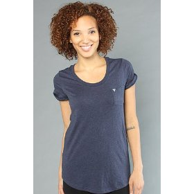 Lifetime collective the real times tee in dark denim melange,t-shirts for women