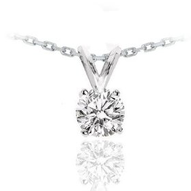 14k white gold round cut solitaire diamond pendant necklace (1.25ctw, g-h color, vs2 clarity)