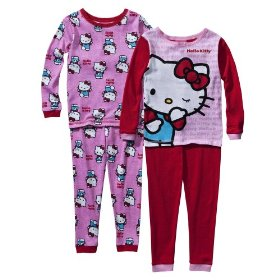 Girls' sleepwear hello kitty red 4 pc pajama set