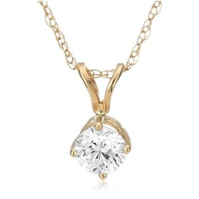 14k yellow gold round diamond solitaire pendant (1/4 ct, h-i color, si2-i1 clarity)
