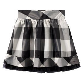 Girls' cherokee® white/black plaid tulle trimmed skirt
