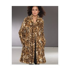 Newport news faux leopard fur swing coat