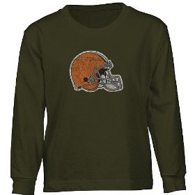 Reebok cleveland browns long sleeve boys (4-7) faded logo t-shirt