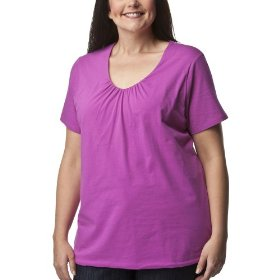 Women's plus-size merona® pink denim v-neck short-sleeve fashion top