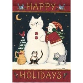 Snow cats christmas holiday garden flag by custom decor