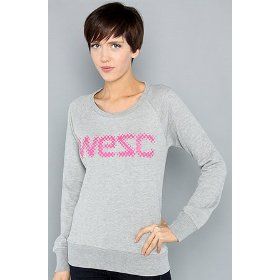 Wesc the wesc logo raster crew sweatshirt in gray hood ,sweatshirts for women