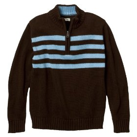 Boys' cherokee® brown stripe long-sleeve 1/4 zip sweater