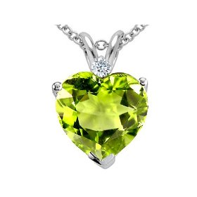 2.02 cttw 14k gold genuine peridot and diamond heart pendant in 14k white gold