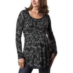 Liz lange® for target® maternity pleated empire long-sleeve top - ebony/white xs