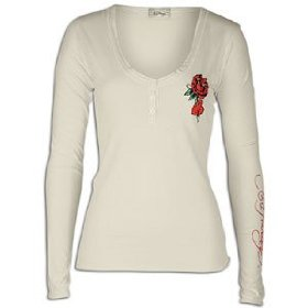 Ed hardy rose & heart l/s v-neck henley - women's