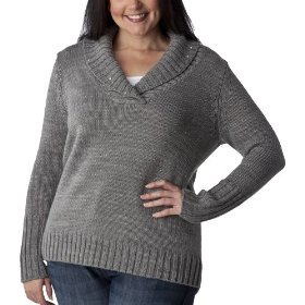 Womens' plus-size merona® heather gray v-neck pullover shawl sweater