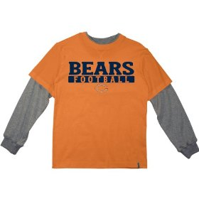 Reebok chicago bears boys (4-7) long sleeve splitter alternate t-shirt