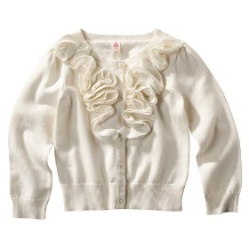 Infant toddler girls' cherokee® cream long-sleeve rouched sweater