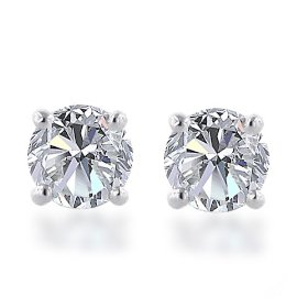 Certified 14k white gold, round, diamond stud earrings (1 1/2 cttw, i-j color, i1-i2 clarity)
