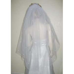 2 Tier Fingertip Plain Wedding Bridal Cut/NoEdge Edge Veil Ship And Custom Made In USA
