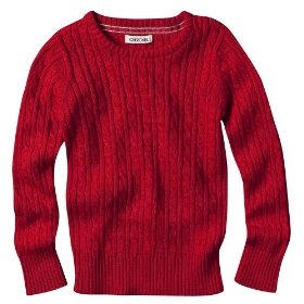 Girls' cherokee® red long-sleeve cable knit sweater