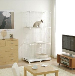 Wire Tower Cage for Small Animal / Cat Cage - WHITE, Receive 2 FREE Hanging Bowls with Your Purchase