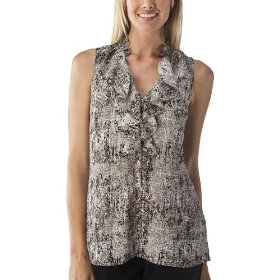 Mossimo® women's ruffle front tank top - black/white