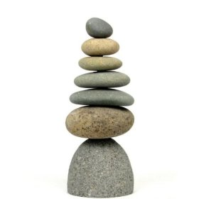 Zen garden septuplet 7 rock stacked cairn trail marker natural river stone art statue