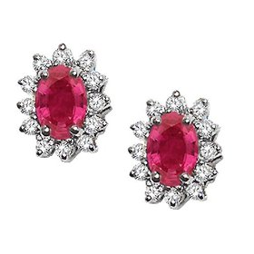 2.60 cttw genuine ruby and diamond earrings in 14k white gold lifetime warranty