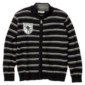 Boys' cherokee® black stripe long-sleeve full zip sweater